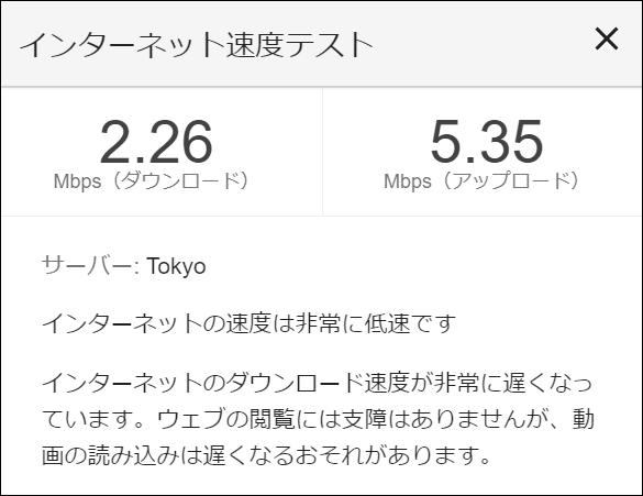 意外にも2.26Mbpsとスピードアップ