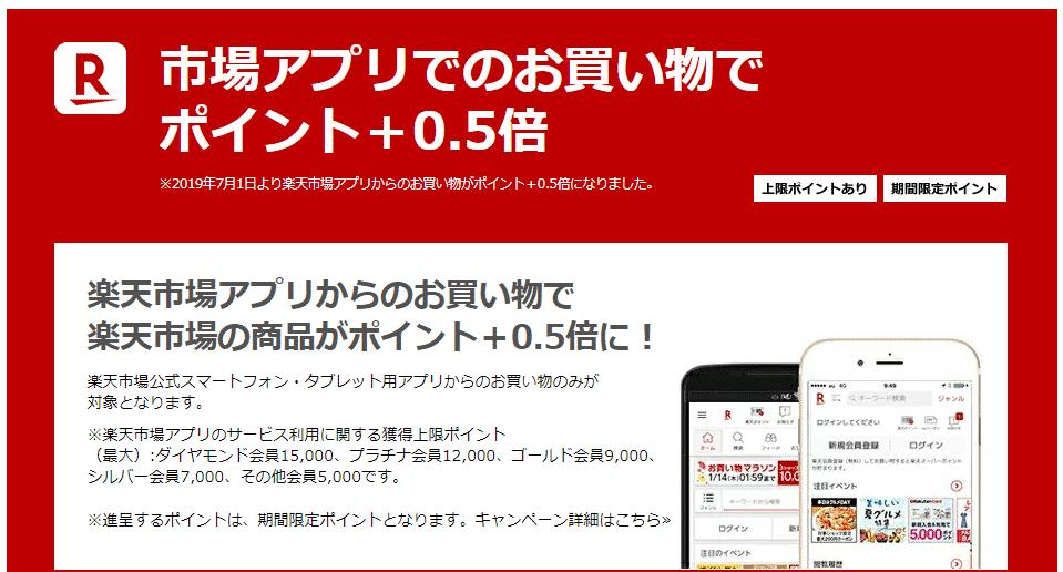 楽天市場アプリで買い物 ポイント+0.5倍
