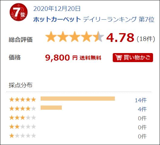 日立 2畳 ホットカーペット【HHLU-S2020】天市場でのレビュー