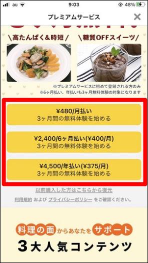 プレミアムサービスへの登録方法「¥480/月払い」を選択